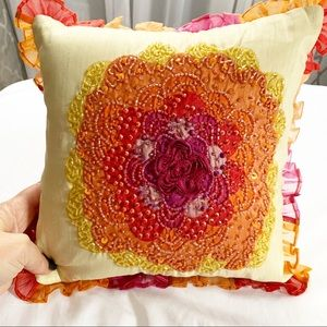 Pier One | Embellished Decorative Flower Pillow
